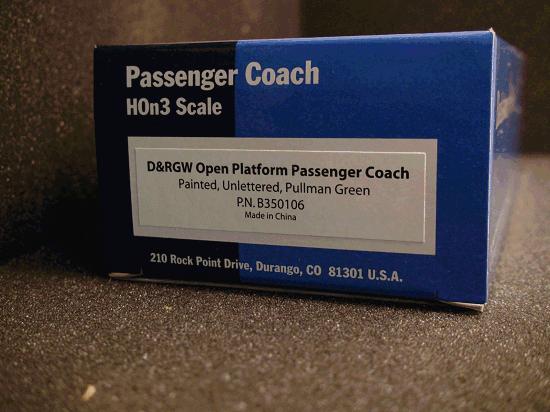 D&RGW OPEN PASSENGER COACH (Painted) Unlettered Pullman Green
